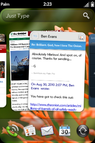 Captura de pantalla de webOS 2.0