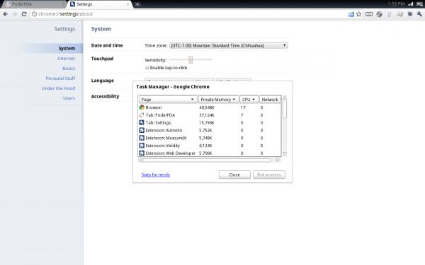 Settings Chrome OS