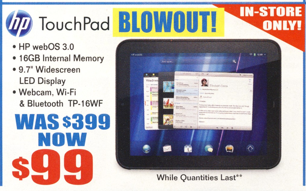 HP Touchpad 99 bucks