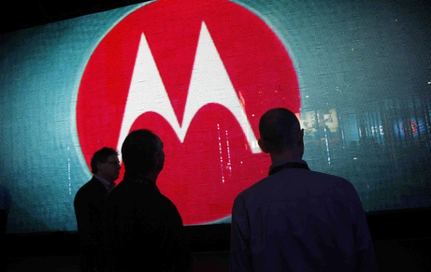 File of visitors looking at a video display at the Motorola booth on the second day of the Consumer Electronics Show in Las Vegas