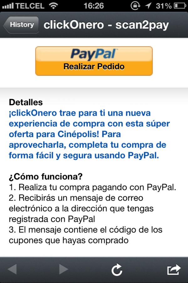 PayPal Scan2pay Pedido