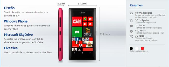 Lumia 505 Detalles