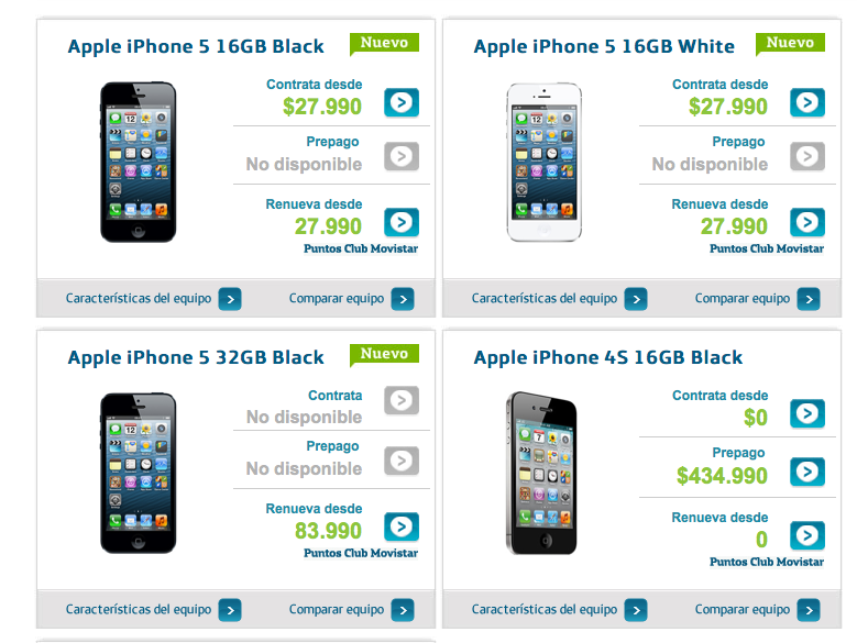iPhone5-planes movistar-Chile