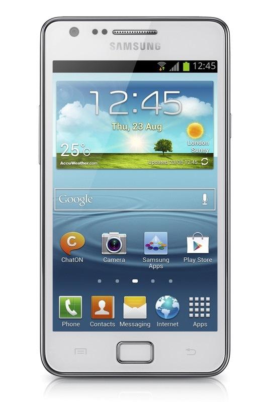 Imagen Frontal del Samsung Galaxy S II Plus Blanco