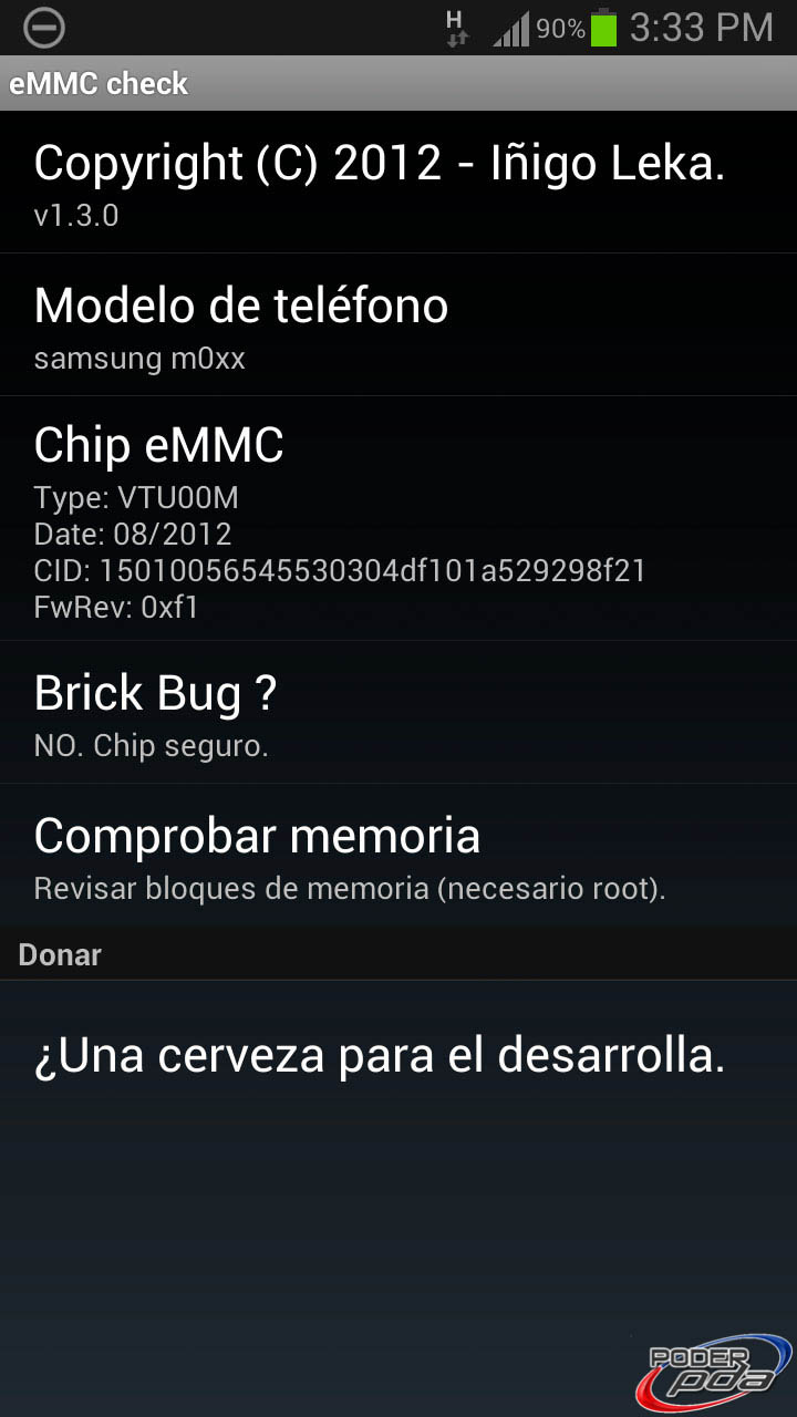 Bug de Muerte Súbita en Samsung Galaxy S 3, Screenshot de la APP eMMC Brickbug