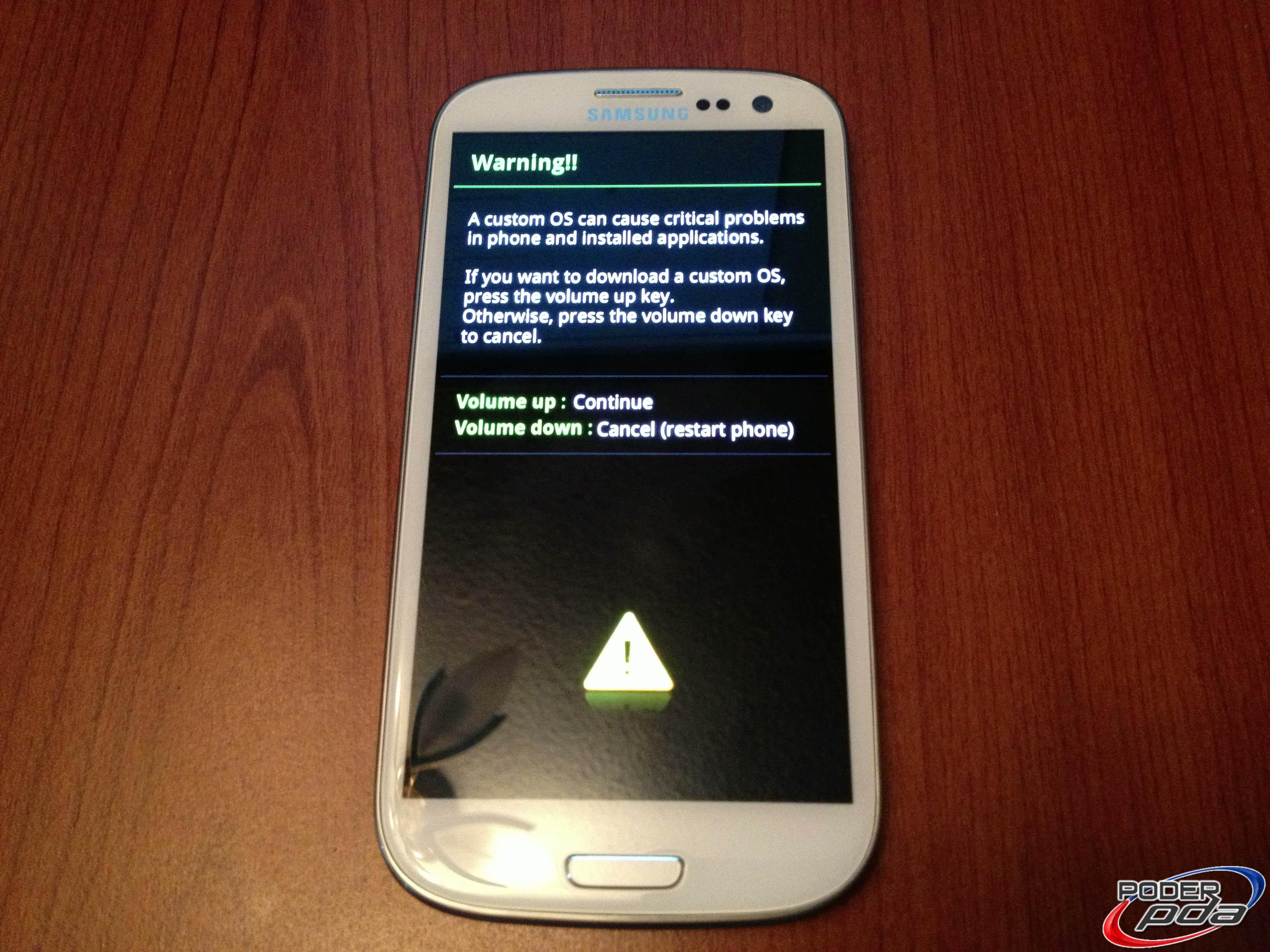 Samsung Galaxy S3 Download Mode Pantalla de Advertencia