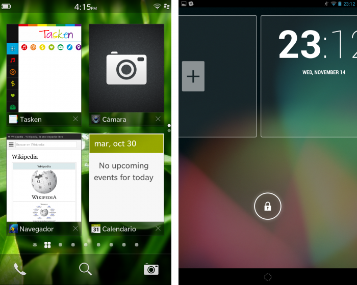 blackberry 10 vs android interfaces