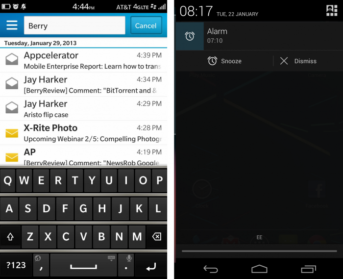 blackberry 10 vs android notifications