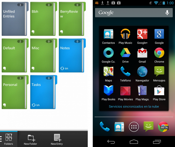 blackberry 10 vs android sync cloud