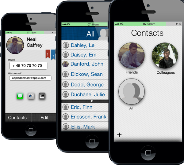 ios 7 concept contacts