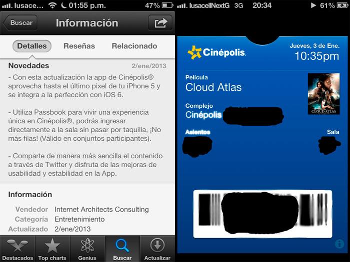 Screenshots de boleto Cinépolis en Passbook iOS