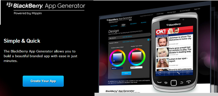 principal app generator blackberry español