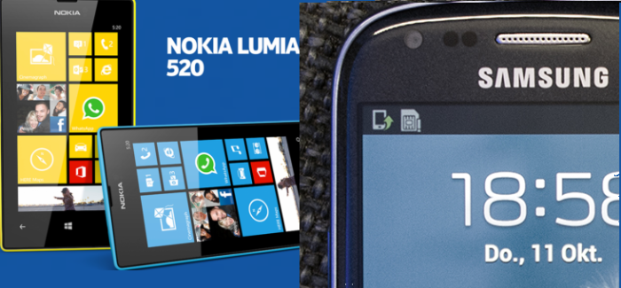 principal lumia 520 vs galaxy mini s3 espñaol