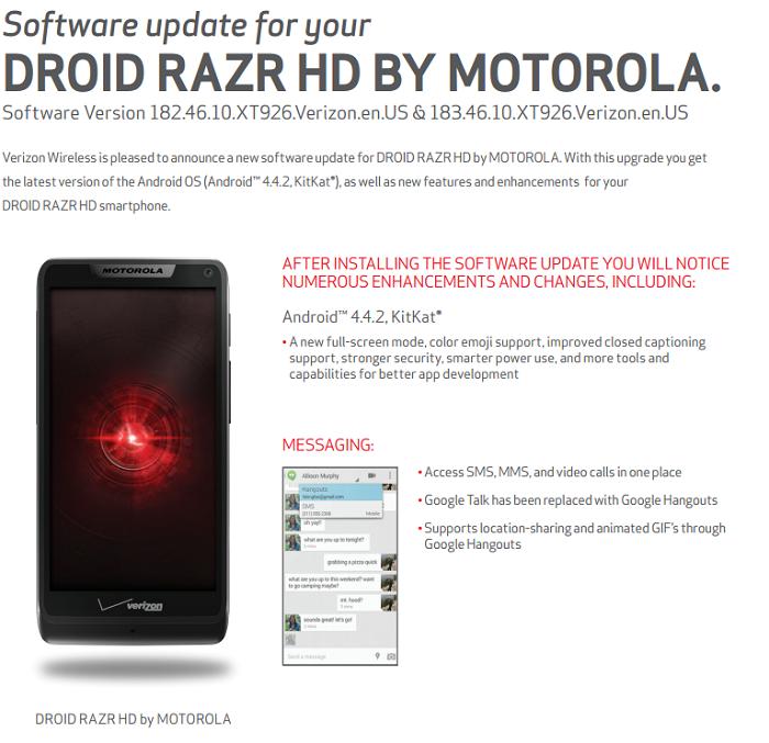 Por fin llegará la tan esperada modernización a KitKat para los Droid Razr de 2012