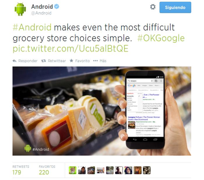 Un tuit anunciado desde la cuenta oficial de Android® muestra el que podría ser el Nexus® 6