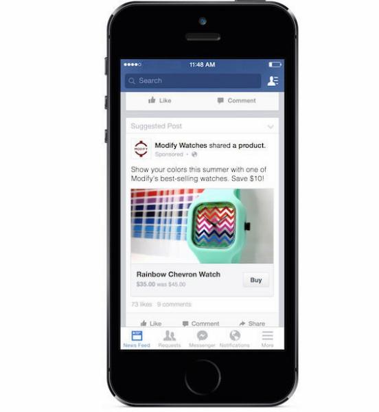 Facebook ya comienza a probar su boton para comprar dentro de la aplicación.