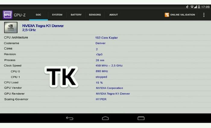 Benchmark en donde se confirma el procesador Tegra K1 de Nvidia