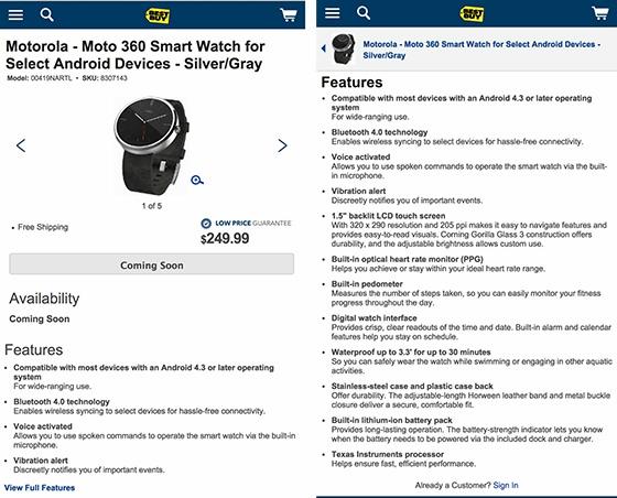 El precio y características del Moto 360 se dejan ver un instante en Best Buy