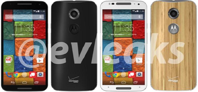 Dos variantes del Moto X+1, ambas con el logo de Verizon y el de Motorola en la parte trasera