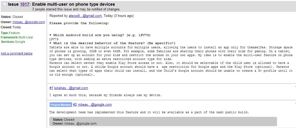 He aqui la captura de pantalla en donde se confirma el soporte multi-usuario en Android® L