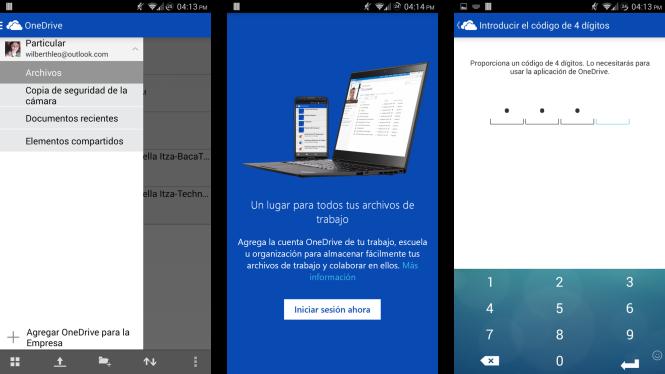 Nuevas características para OneDrive en Android, cuentas empresariales y código de seguridad