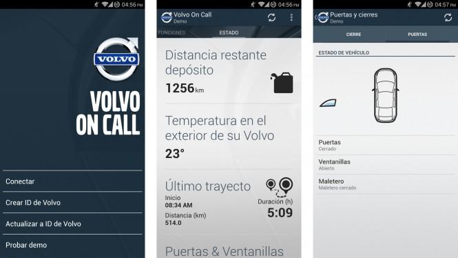 Interfaz demo de Volvo On Call