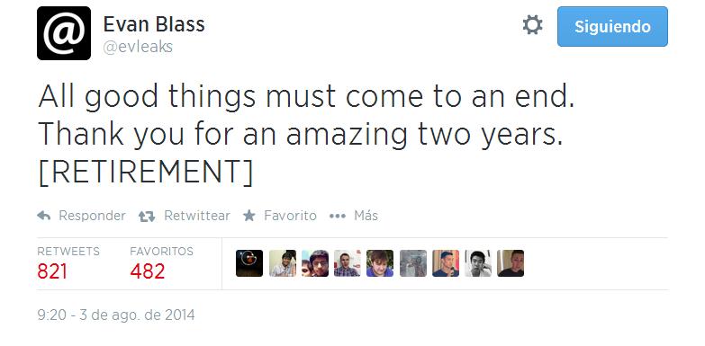 Mediante un tweet, Evan Blass revela su retiro del planeta de las filtraciones