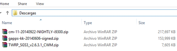 Archivos descargados