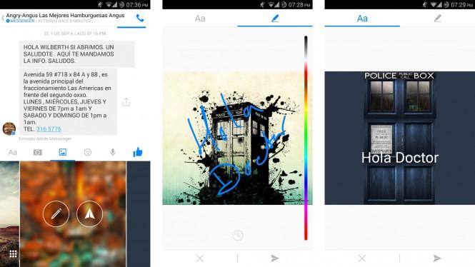 Interfaz de Facebook® Messenger para escribir en imágenes