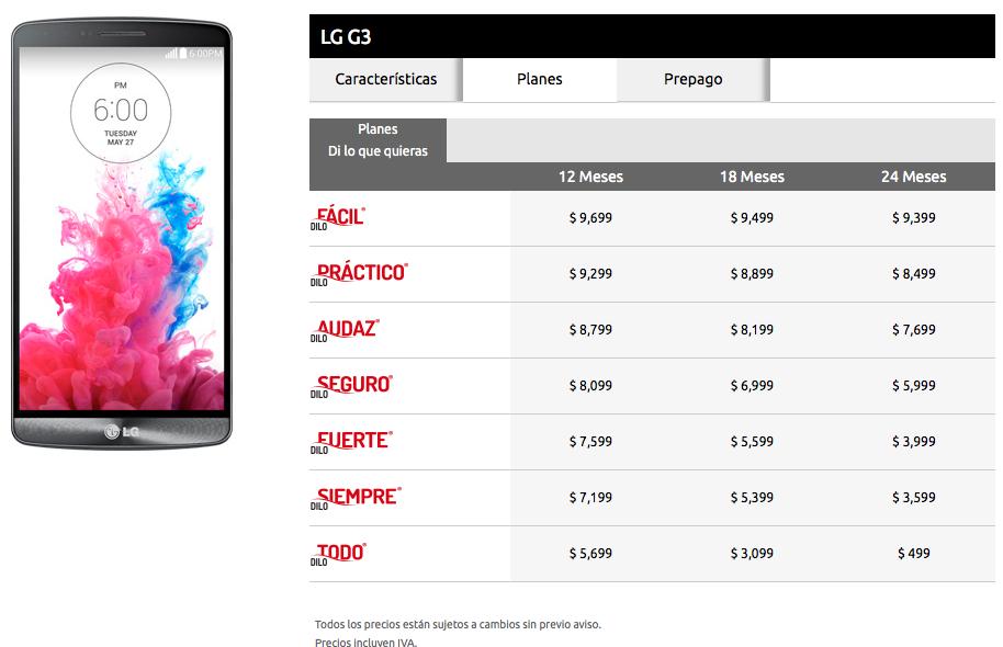 LG G3-iusacell.planes