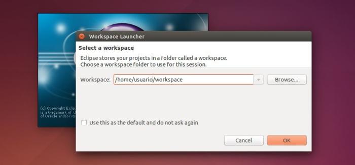 Selección del Workspace para ADT