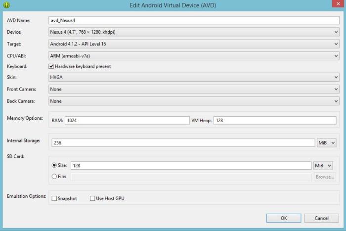 Asistente para inventar el simulador avd_Nexus4