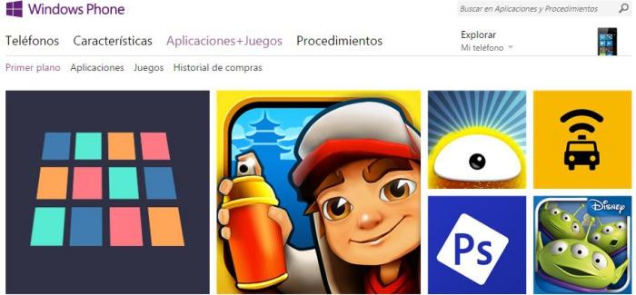 La bazar de programas de Windows Phone