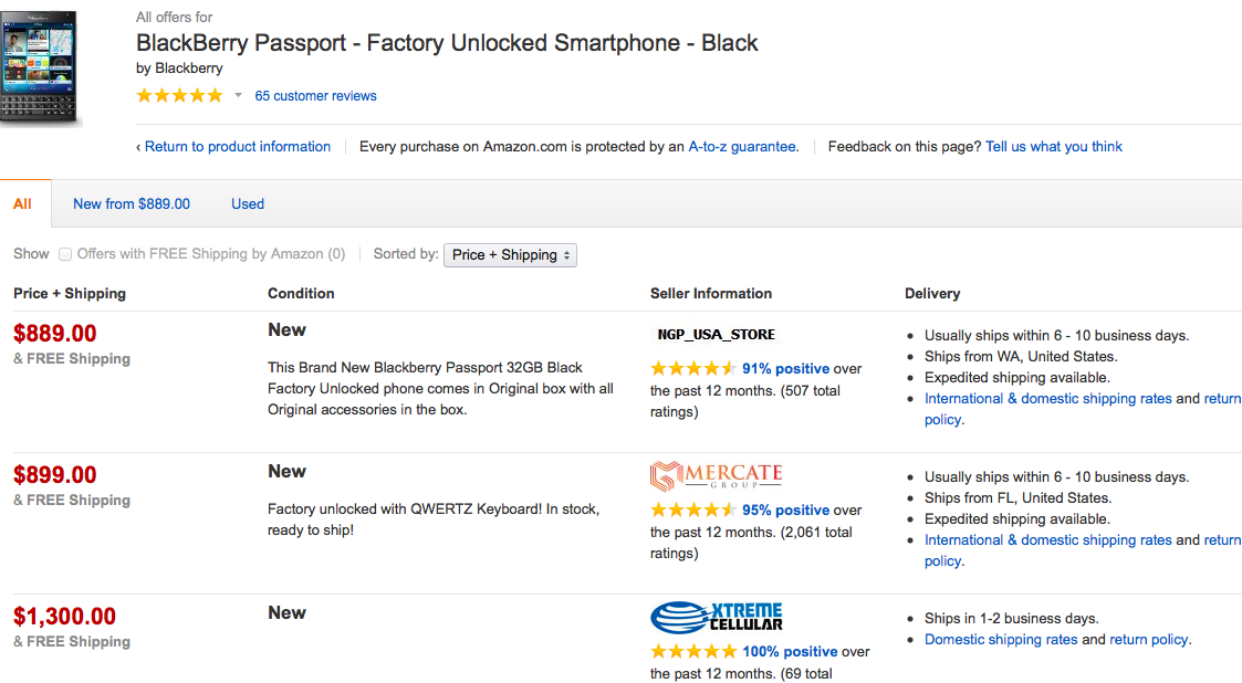 BlackBerry Passport Amazon