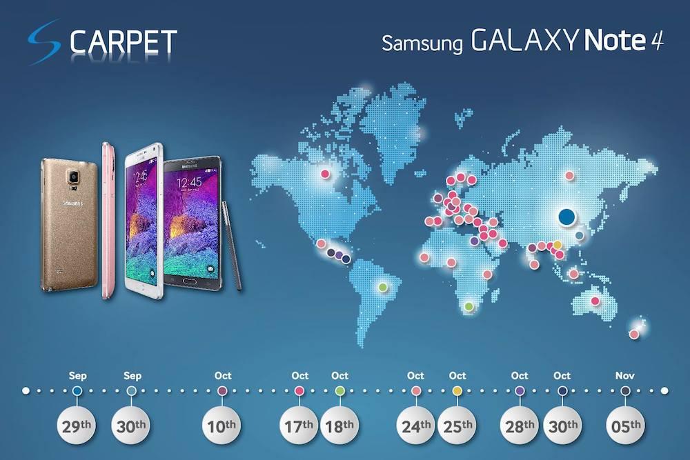 Galaxy Note cuatro disponibilidad