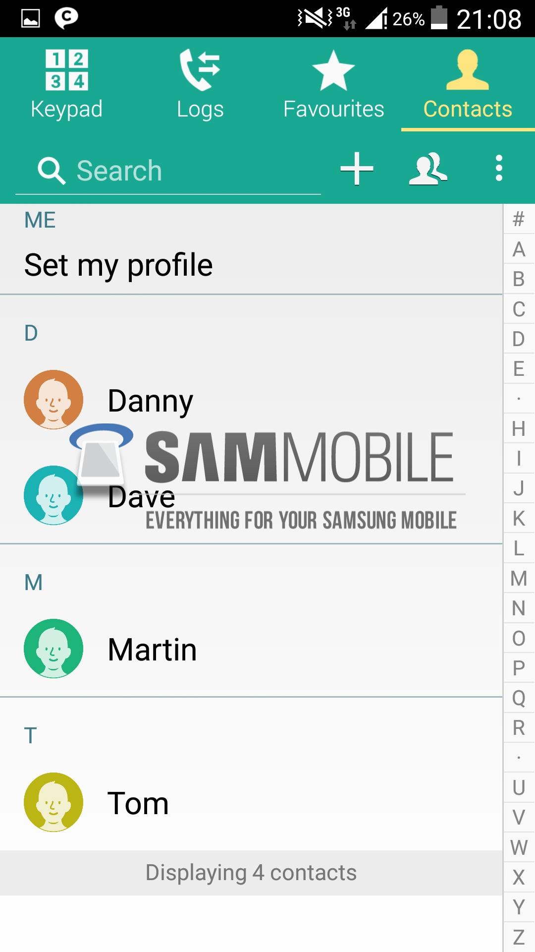 Lista de contactos desde Dialer / Teléfono