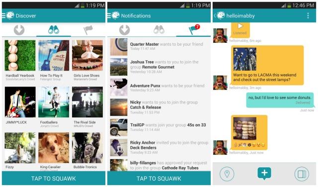 Interfaz de Squawkin, app de mensajería instantánea con novedades interesantes
