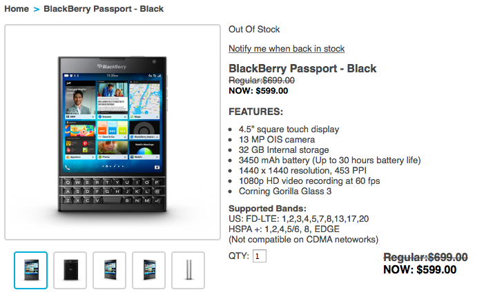 blackberry passport agotado