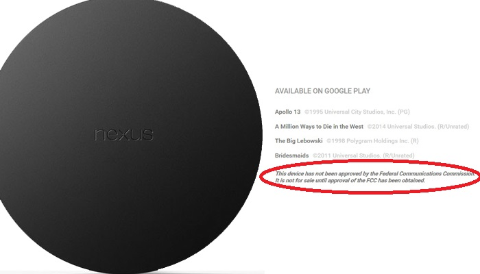 Google Nexus Player FCC