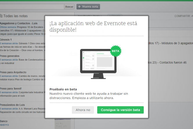 Evernote te invita a probar la version BETA de su nueva interfaz web