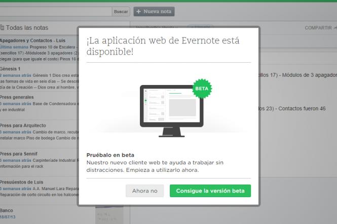 Evernote te invita a probar la versión BETA de su nueva interfaz web