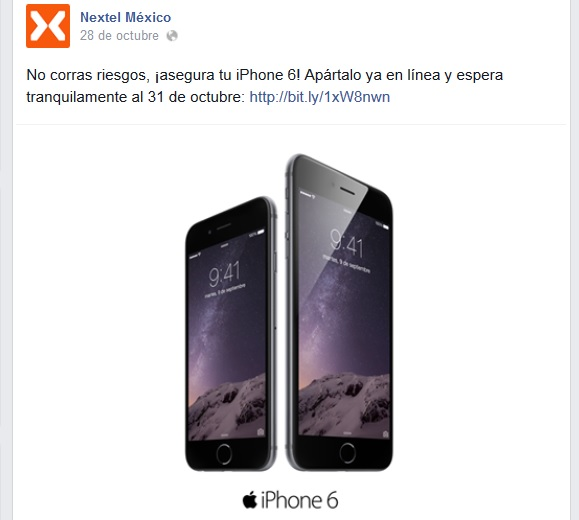 iPhone 6 estará disponible con Nextel a partir del 31 de Octubre.