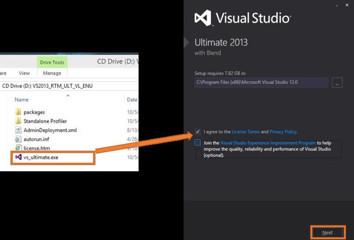 Inicio de la Instalación de Visual Studio 2013