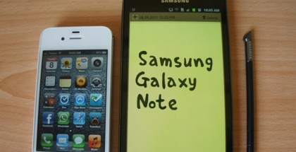 Galaxy Note y iPhone 4