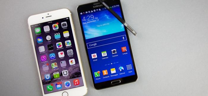 iPhone 6 Plus y un Galaxy Note 3