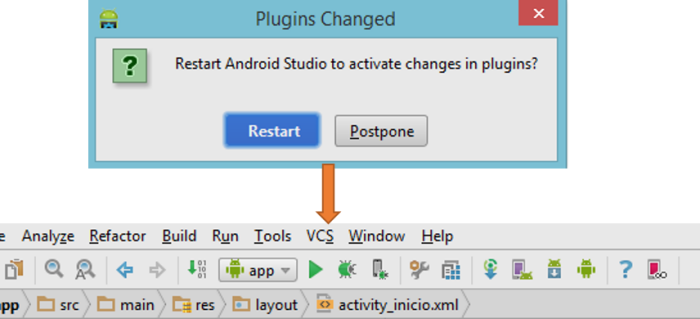 Reinicio Android Studio