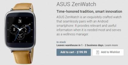 Asus ZenWatch muy pronto en la Google Play Store US