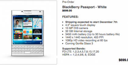 blackberry passport blanco