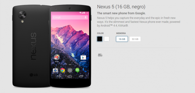 Google Play tuvo stock de Nexus 5 durante algunas horas.