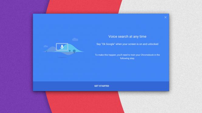Pantalla para configurar el comando de voz persistente en Chrome OS